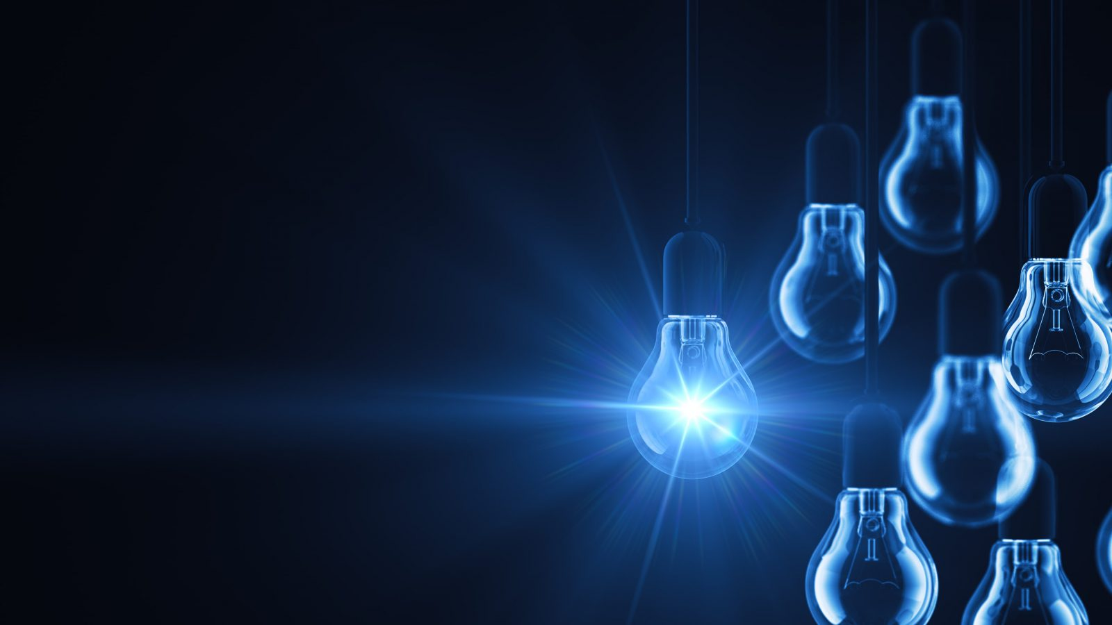 Blue light bulbs with one turned on